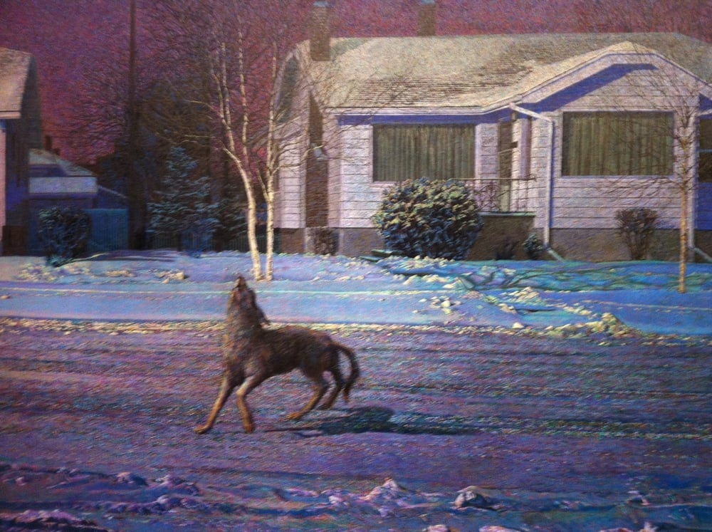 "Detail from ""Qol/Voice, 1987,"" by Calgary artist John Brocke (1953-2009). The painting depicts a street in Crescent Heights."