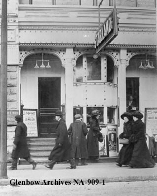 "Calgary's Starland Theatre in 1909 (116a-8th Avenue SW). ""The Starland itself,"" Marina Endicott writes in The Little Shadows, ""was a plain box on 8th Avenue, not near as grand as many of the other theatres."" (Photo: Glenbow Museum)"