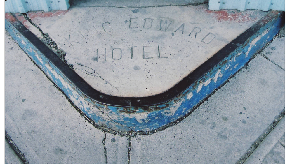 Sidewalk stamp from the King Edward Hotel. The stamp is gone, but the King Eddie remains in its new incarnation as part of the National Music Centre (Photo: Courtesy of the Calgary Public Library Community Heritage and Family History Collection)