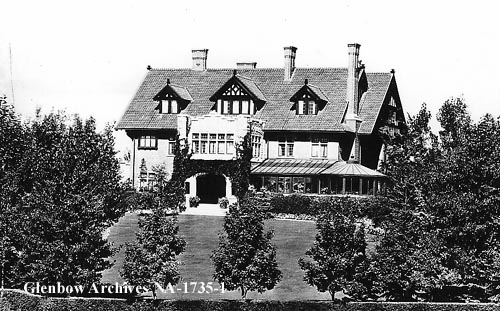 Calgary's Coste House, 2208 Amherst Street SW. Ontario-born Eugene Coste, known as the father of the natural gas industry, bought the land for his 28-room Mount Royal mansion in 1911. The price of ten lots in Calgary's nouveau riche neighbourhood? $10,000. After the 1913 crash, Coste fell on hard times. The city turned down his offer to use the house as a children's hospital and the mansion sat empty until 1935. After the war, the now city-owned Coste House became the heart of the city's arts scene as home to the Calgary Allied Arts Centre.  (Photo: Glenbow Museum. Facts: Harry Sanders'  Historic Walks of Calgary .)
