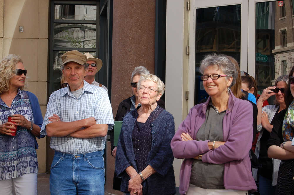 Across from the Devonian Gardens: connecting the dots between Barry Callaghan, John Ballem, and Calgary-born novelist Norman Ravvin. Ravvin's novel, Café des Westens evokes two long-ago demolished city landmarks nearby: the Wales Hotel and the Robin Hood Flour Mill. Calgary author Cecelia Frey (centre) reviewed Ravvin's novel for the Herald in 1991. (Photo: Yanmei Fei)