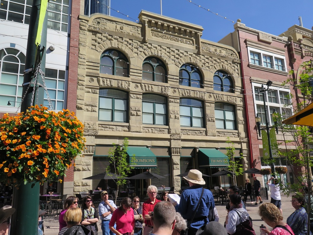 Stephen Avenue: a look at Calgary's early bookstores, Thomson Bros Bookstore (namesake of the restaurant) and Linton's Bookstore circa 1890. The avenue was also home to several theatres, including the Starland, which Marina Endicott uses as one of the Calgary settings in her 2012 vaudeville novel, The Little Shadows. (Photo: Blair Carbert)