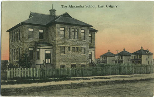 The historic Alexandra School in Inglewood, a stone's throw from the Bow River pathway evoked in Shirley Black's personal essay. Since 1981, this building has been home to the Alexandra Writers' Centre Society, a pillar of the local writing scene. Calgary writer and lifelong Inglewood resident, Shirley Black, along with Michael Fay, was one of its founders. (Photo: Calgary Public Library)
