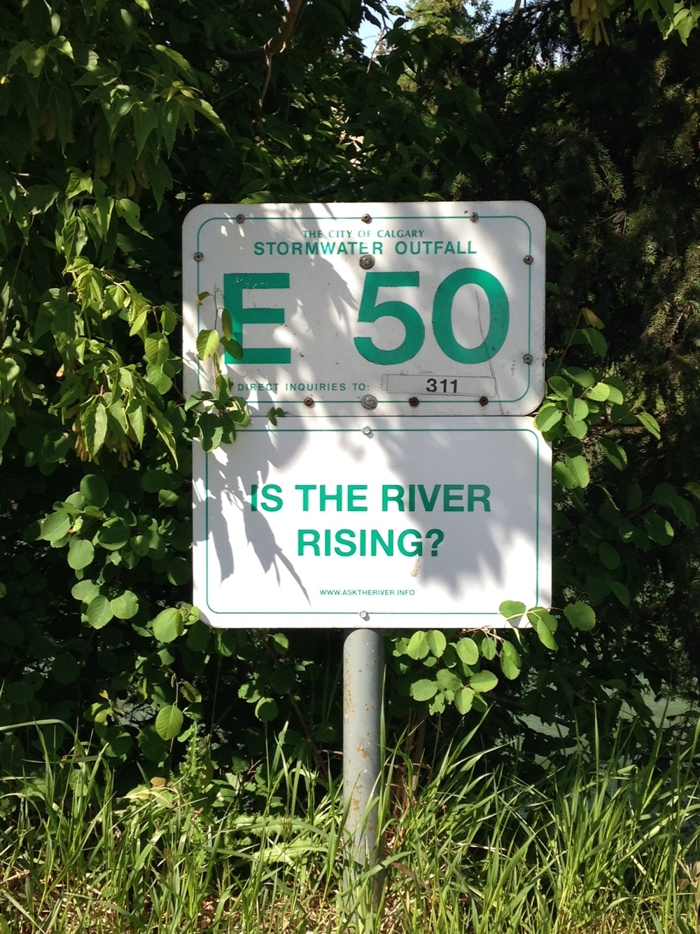 In the weeks following the 2013 flood, a Windsor-based artist collective visited the city as part of Calgary's public art program, Watershed+. The result?  A series of signs  exhibited at a local gallery and later installed along the city's river pathways. (Photo: Shaun Hunter)