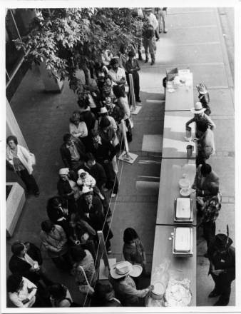 Stampede breakfast downtown Calgary, circa 1970-90. (Photo: Calgary Public Library)