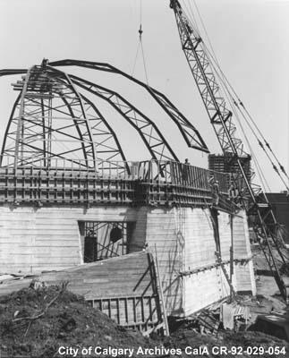 "The dome of the Calgary Centennial Planetarium, under construction in 1966-67. The facility was built, according to a city astronomer, to celebrate not only Canada's centennial but ""the world's entry into the space age... and the marvel of the heavens."" (Photo: City of Calgary Archives via Alberta on Record)"