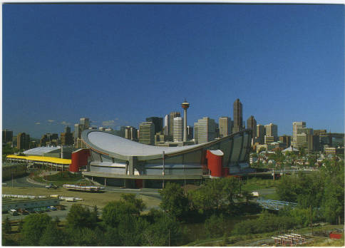 In 1983, three years after Calgary secured an NHL franchise, a new arena changed the city's skyline. To its architects, the roof was a reverse hyperbolic paraboloid. To the majority of Calgarians who participated in a naming contest, it looked like something more familiar. 735 saddle-themed names went into the hat. The winning name received mixed reviews, but Saddledome has stuck. (Photo: Calgary Public Library Postcards from the Past)