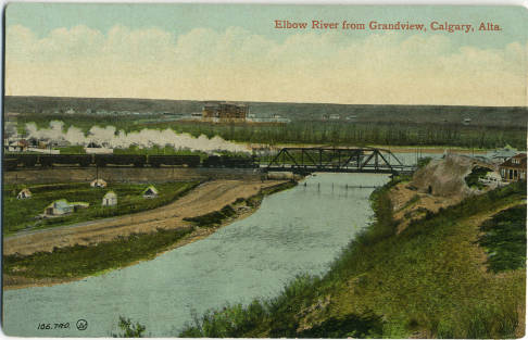 A steam engine crossing the Elbow River seen from a bluff in what we now call Ramsay, an area once known as Grandview. (Photo: Calgary Public Library Postcards from the Past)