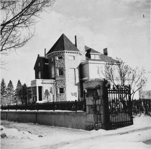 Built in 1891, Beaulieu, James and Belle Lougheed's sandstone mansion announced Calgary's aim to become a great city. From the fashionable Lincrusta wallpaper and customized stained glass windows, to the wood-panelled library stocked with literary classics, the Big House was intended to show the world that Calgary had the makings of a cultivated metropolis. (Photo, taken in 1956:  Calgary Public Library Alison Jackson Collection )
