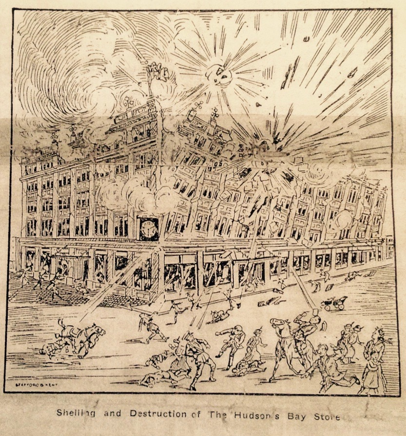Say goodbye to the Venetian arcade. The cover illustration of H. Nelson Dickson's pamphlet illustrates the fictional destruction of the Hudson's Bay store depicted in his story. (Source: Glenbow Library)