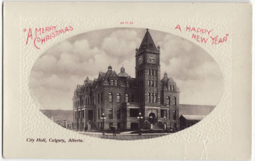A Calgary Christmas card, courtesy of  Calgary Public Library Postcards from the Past )
