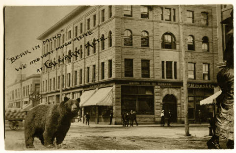 Memorable encounters on Calgary's Stephen Avenue, this one at First Street East where Milestone's now stands.  (Photo:  Calgary Public Library Community Heritage & Family History Collection )