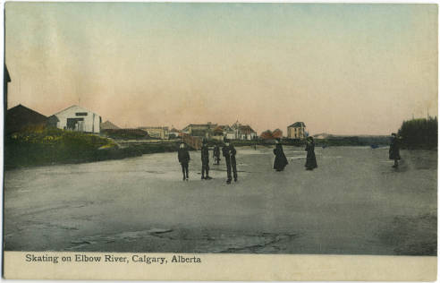 Calgarians skating on the Elbow River, circa 1913. (Photo: Calgary Public Library Postcards from the Past)