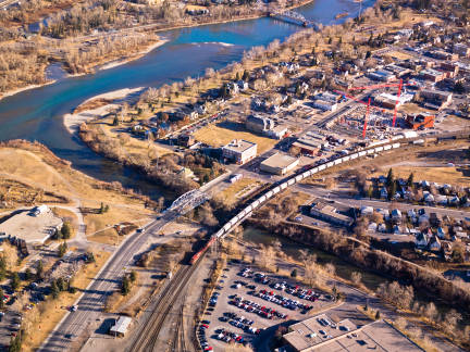 Aerial view of Inglewood from 9th Avenue SE, 2009. Poulsen sets much of the action in his mystery novel in and around Inglewood, Calgary's oldest neighbourhood.  (Photo: Calgary Public Library Community Heritage and Family History Special Collection)