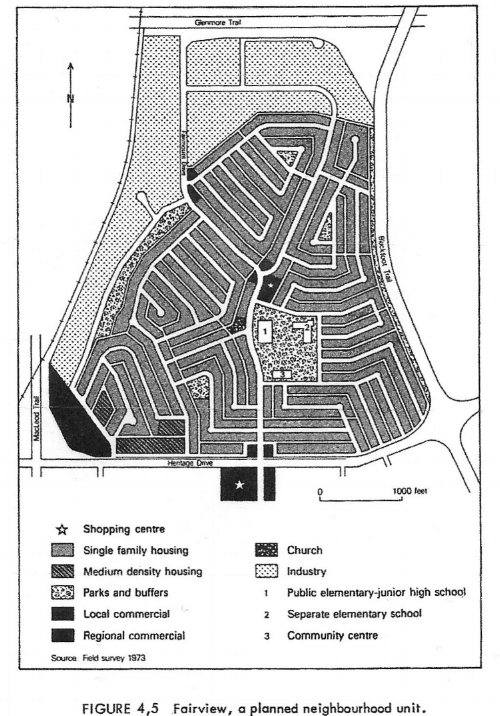 "The ""Crestview"" neighbourhood in Mark Giles' story resembles Calgary's Fairview: a community developed in the late 1950s in keeping with the principles of the ""Neighbourhood Unit Concept."" According to the then-city planning director, Fairview's various features would make it a ""thoroughly desirable place to live."" (Image & quotation from Robert Stamp's Suburban Modern: Postwar Dreams in Calgary, 2004)"
