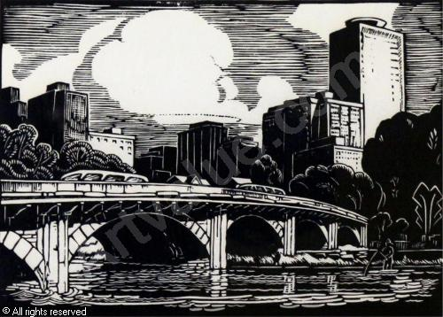 The Louise Bridge (aka the 10th Street Bridge) -- storied bridge and literary muse (Image: 1979 linocut by  Margaret Shelton ,  Hodgins Art Auctions )