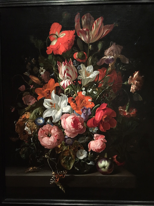 Rachel Ruysch Flowers in a Glass Vase c. 1704 Painting, Detroit Institute of Arts