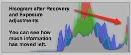 Histogram after recovery and expsoure adjustments.
