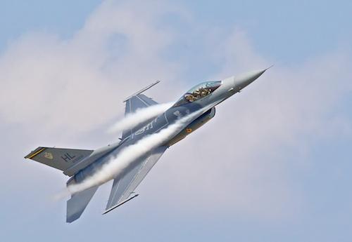 F-16 climbing