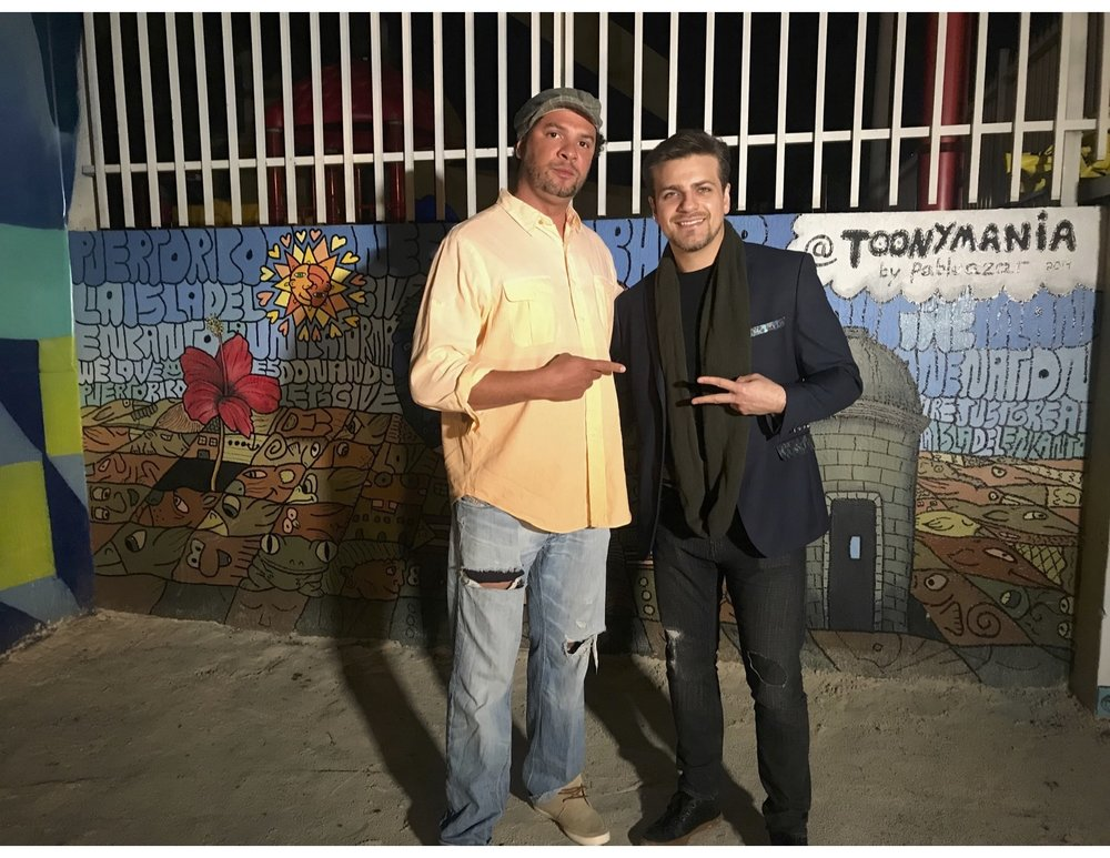 "ACTOR PABLO AZAR INFRONT OF HIS MURAL HE PAINTED FOR ""PUERTO RICO HOPE"" multi talented in several genres is what it means to be in ""ARTWORLD""!!"