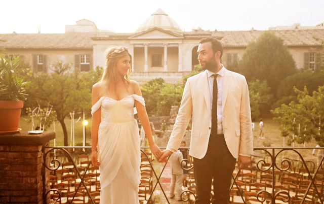 Italian boho wedding couple