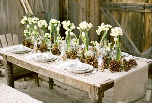 Pinecone and Flower Table Setting