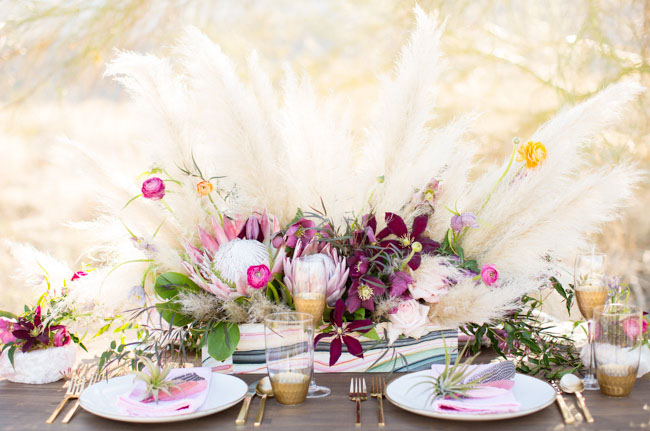 purple wedding inspiration table setting