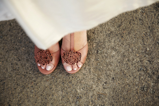 indie bride wearing wedding shoes