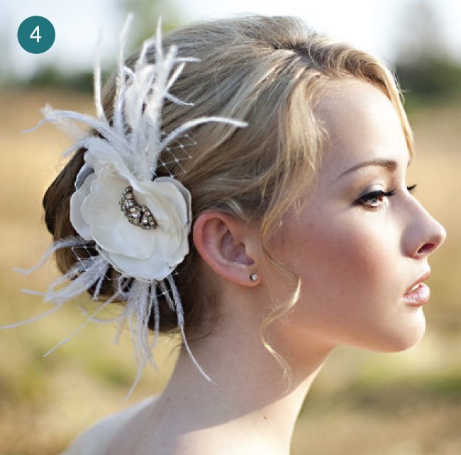 feather hairpiece wedding hair