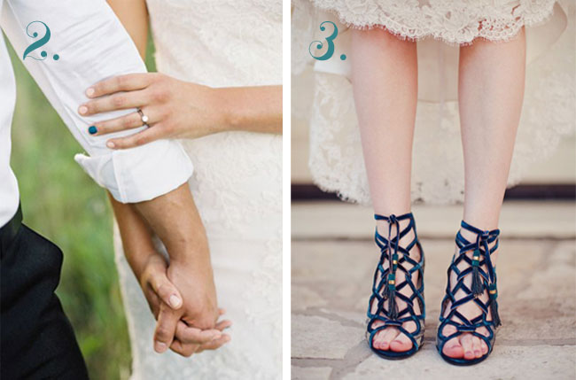 blue nail polish and velvet blue Ferragamo wedding shoes