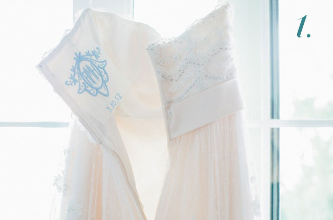 something blue monogram wedding dress