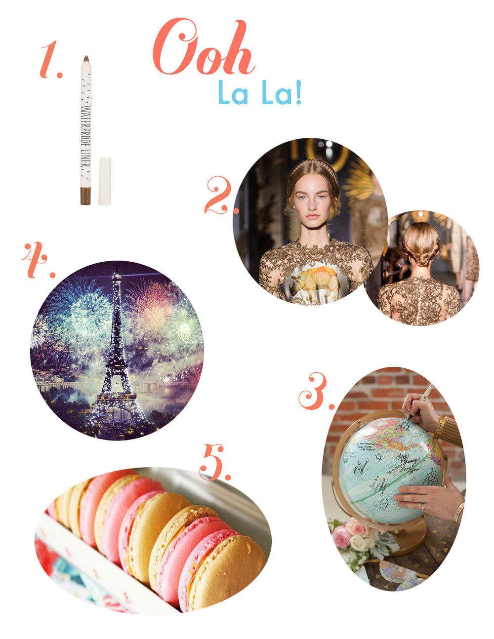 Bastille Day, waterproof mascara, macaroons, braided hair, globe wedding guest book