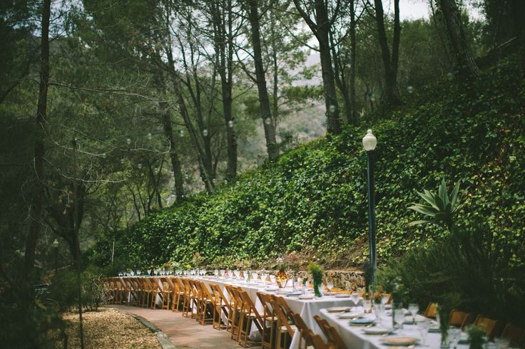 long outdoor wedding table rustic