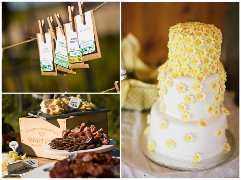 barn wedding daisy cake, escort cards, appetizer table