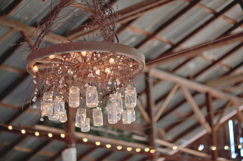 barn wedding mason jar chandelier DIY