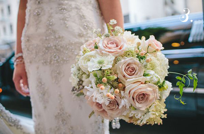 pink and green bride's bouquet garden roses