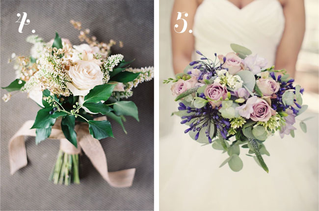 cream and green bride's bouquet with roses on left, purple bouquet on right