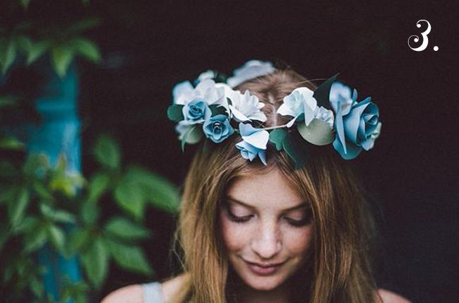 bride's something blue floral crown