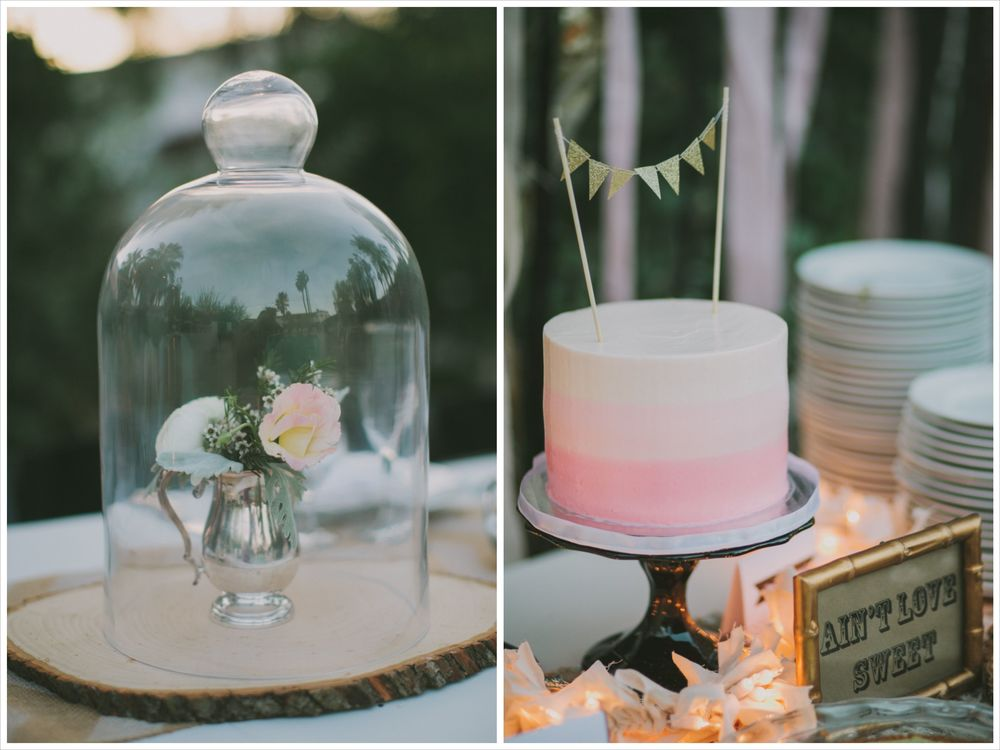 wedding cake and decor from Hotel Alcazar Palm Springs wedding