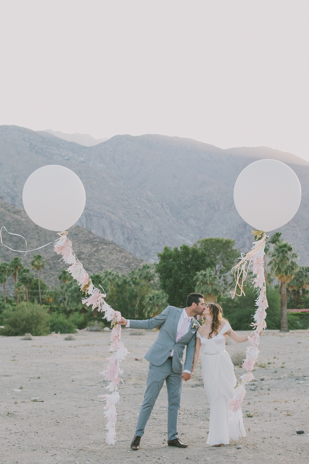Real Winifred Bean bride Jenni wearing Tulipe vintage-inspired wedding dress at her Palm Springs wedding