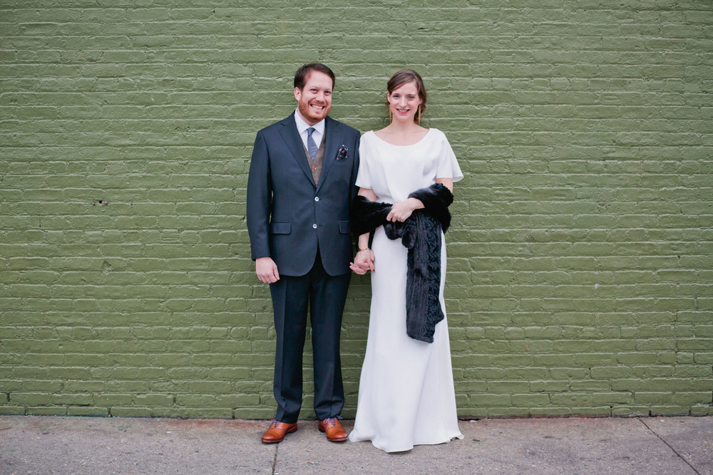 Brooklyn real Winifred Bean wedding featuring vintage-inspired Audrey dress