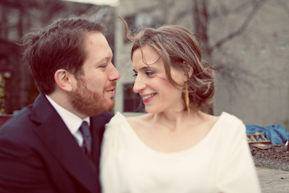 Real Winifred Bean Brooklyn wedding featuring vintage-inspired Audrey dress