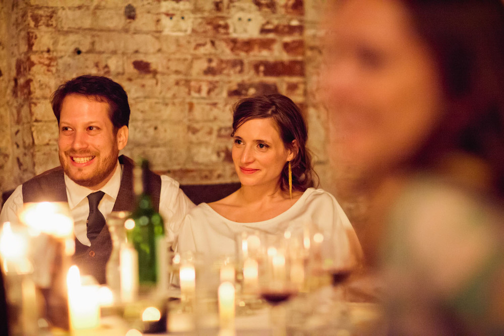 Reception of Brooklyn real Winifred Bean wedding featuring vintage-inspired Audrey dress