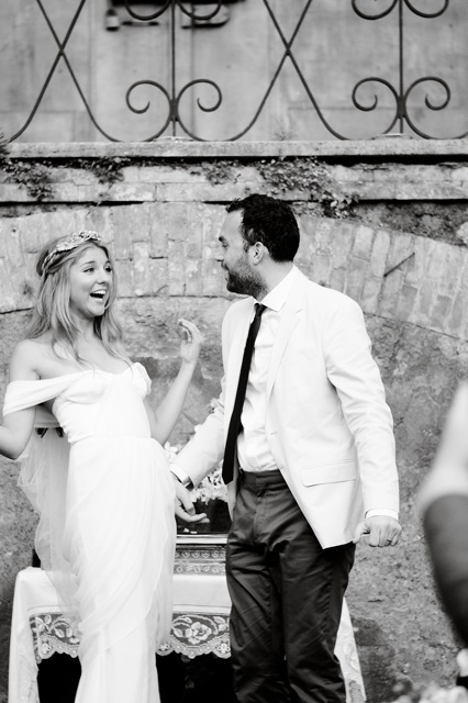 Wedding in Italy featuring Winifred Bean's Tulipe vintage-inspired sweetheart neckline ruched chiffon dress