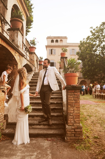 Destination wedding in Italy featuring Winifred Bean's Tulipe vintage-inspired sweetheart neckline ruched chiffon dress