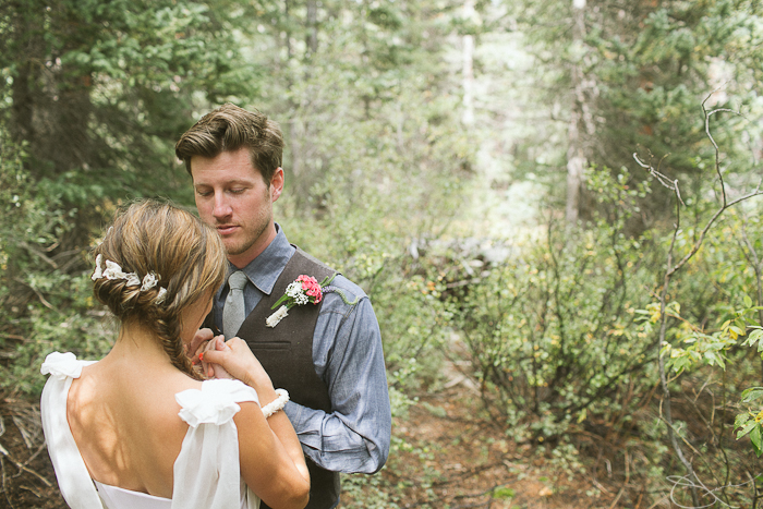 First look in Winifred Bean rustic Colorado wedding featuring Daisy chiffon dress