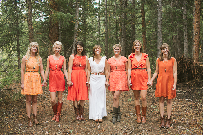 Rustic wedding style with mismatched bridesmaids and chiffon v-neck wedding dress by Winifred Bean