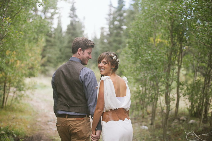 Rustic outdoor wedding, bride wearing chiffon Daisy affordable dress by Winifred Bean