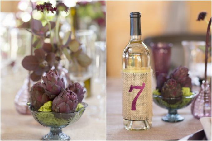 decor for a wine country napa sonoma wedding including wine bottle table numbers and merlot colored centerpieces