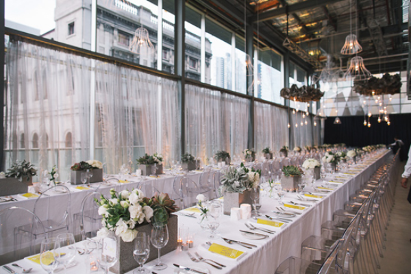 table setting for industrial warehouse loft space wedding